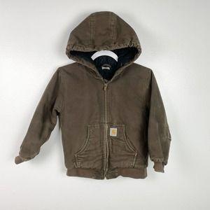 Carhartt Brown Hooded Winter Coat Kids Size 7-8